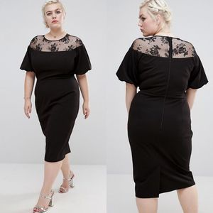 ASOS Wiggle Lace Midi Black Dress Size 12